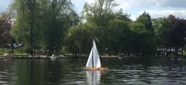 Model boat on Roath Park Lake