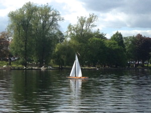 Model boat on Roath Park Lake