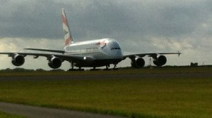 A380 Super jumbo at Cardiff Airport