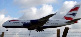A380 Superjumbo landing at Cardiff Airport