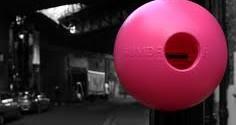 Bright pink chewing gum bins