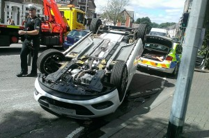 Car Flipped over in Cardiff