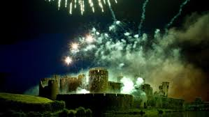 Fireworks in Cardiff area - Caerphilly Castle